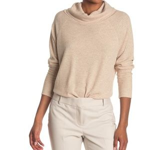 Bobeau Cowl Neck Raglan Sleeve Sweater In Oatmeal